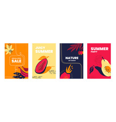 posters with exotic fruits doodle tropical leaves vector image