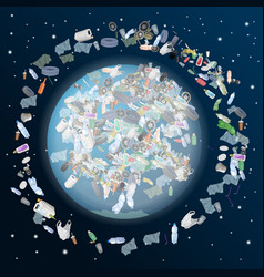 problem of pollution of the planet space vector image