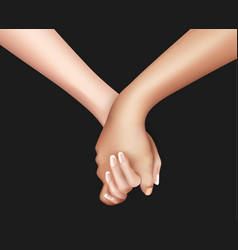 Realistic holding hands vector