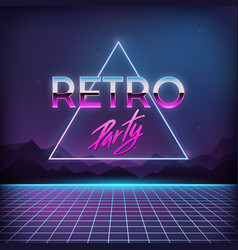 Retro party 1980s digital landscape with space vector