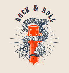 Rock and roll guitar head with snake and roses vector