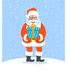 Santa Claus gives a Christmas gift box with bow vector image