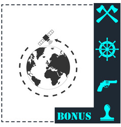 satellite icon flat vector image