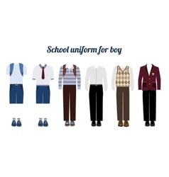 School uniform for boys flat vector