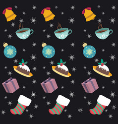 seamless background with christmas objects and vector image
