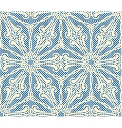 Seamless lace pattern on blue bacground vector