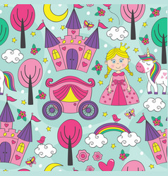 seamless pattern with a princess vector image