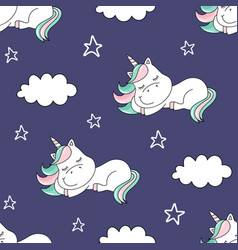 seamless pattern with dreaming unicorn and clouds vector image
