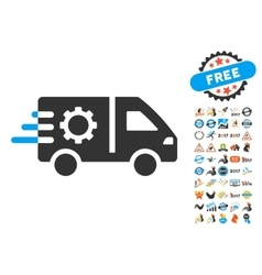 Service Car Icon With 2017 Year Bonus Symbols vector