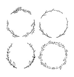 set cute detailed hand drawn floral wreaths vector image
