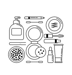 Set monochrome icons cosmetics for face vector