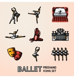 Set of bright Ballet freehand icons with vector image