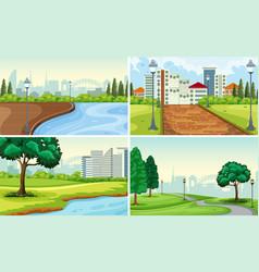 set of park landscape vector image
