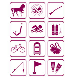 set of sports equipment icons vector image