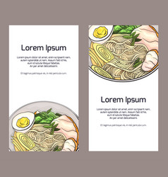 set of vertical banners with color ramen and place vector image