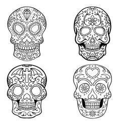 set sugar skulls isolated on white background vector image