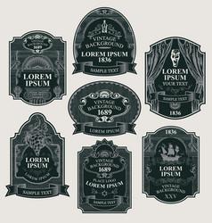 set vintage labels in figured frames vector image