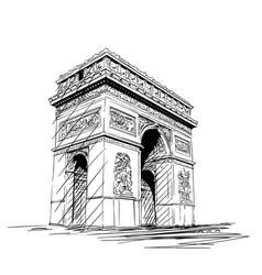 Sketch arc de triomphe in paris france hand vector