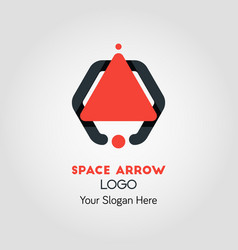 Spaceship-like upside arrow logo template vector