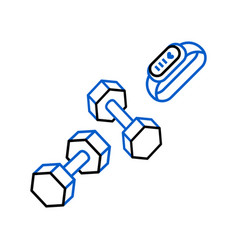 Sports dumbbells and smart fitness bracelet icon vector