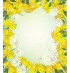 Spring flowers frame vector