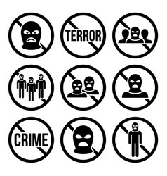 Stop terrorism no crime no terrorist group icon vector