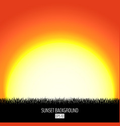 sunset or sunrise abstract background with black vector image