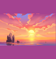 sunset or sunrise in ocean nature landscape vector image