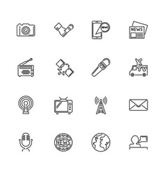 television news - flat line icons vector image