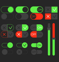 Toggle switch set dark theme on and off vector