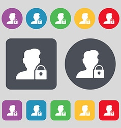 user is blocked icon sign A set of 12 colored vector image
