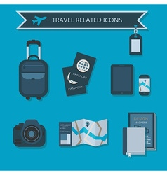 vacation and travel icon set on blue background vector image