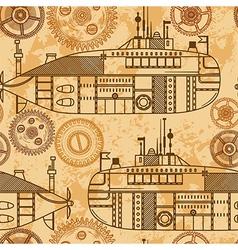 Vintage seamless pattern submarine machine gears vector