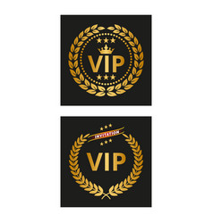 vip label with laurel wreath in two versions vector image