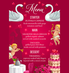 Wedding day menu template starter main desserts vector