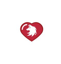 wolf head logo fox face design in a heart shape vector image
