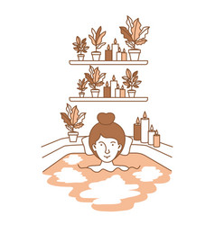 Woman taking a bath tub with houseplants vector