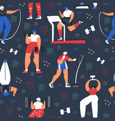 workout training flat color seamless pattern vector image