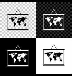 world map on a school blackboard icon isolated on vector image