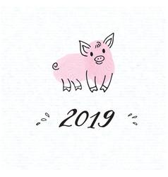 Zodiac symbol of the new year 2019 piggy vector