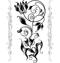 abstract floral silhouette vector image