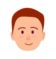 brunette boy with smile close-up portrait flat vector image vector image