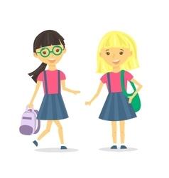 Cute school girls with school backpack vector image vector image