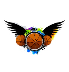 Graffiti image with basketballs vector image vector image