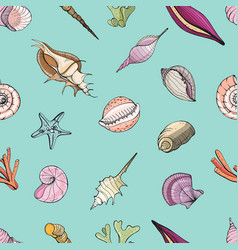 hand drawn seamless pattern with seashells vector image vector image