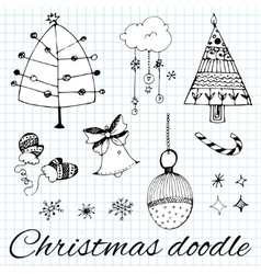 Set of hand drawn Christmas doodles vector image