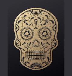 sugar skull day of the dead golden vector image