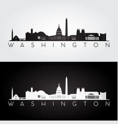 washington usa skyline and landmarks silhouette vector image vector image