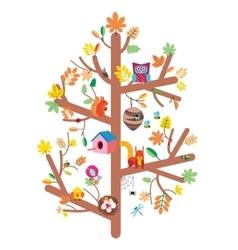 Autumn tree kids design flat vector image vector image