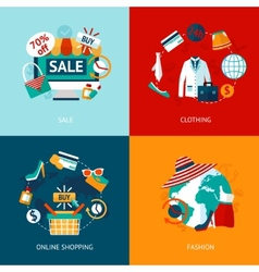 Shopping clothing flat icons set vector image